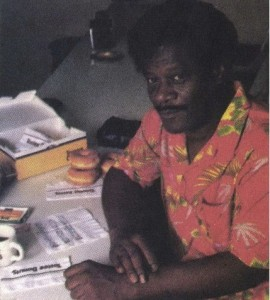 """Earl King at his Tastee Donuts Shop """"office"""". Photo by Owen Murphy."""