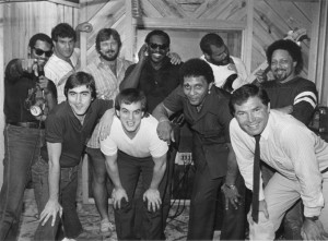 Who Dat 1983 session (L to R) Dave Waymer, Brad Edelman, Steve Monistere, Jim Hill, Carlo Nuccio, Reggie Houston, Aaron Neville, Lewis Oubre, Ron Swoboda and Art Neville
