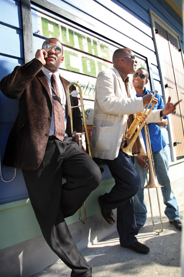 "Glen David, James, and Troy ""Trombone Shorty"" Andrews in the Treme."
