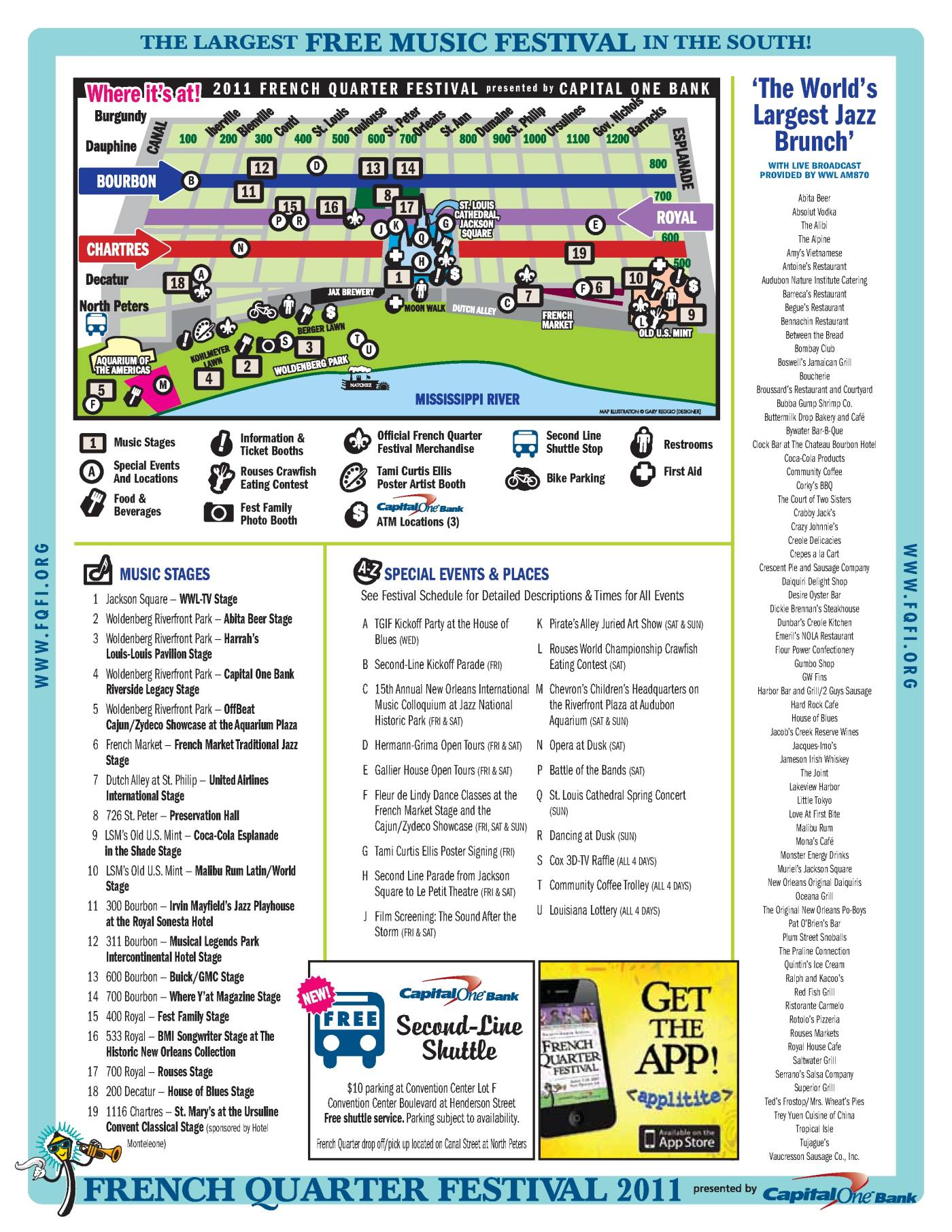 picture relating to French Quarter Map Printable called French Quarter Pageant 2011 Map - OffBeat Journal