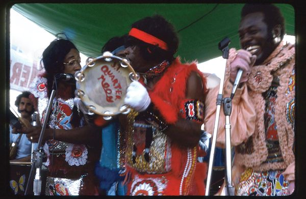 Wild Magnolias Perform Handa Wanda at New Orleans Jazz and Heritage Festival 1975. Photo by Syndey Byrd.