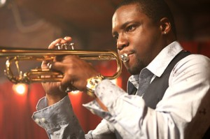 Rob Brown playing trumpet as Delmond Lambreaux on HBO Treme