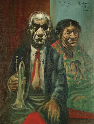 Noel Rockmore, Blue and Dede Pierce, Preservation Hall 1964, oil on canvas, Ogden Museum of Southern Art.