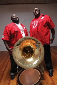 Bass drummer Harry Cook and sousaphonist Bennie Pete. Photo by Elsa Hahne.