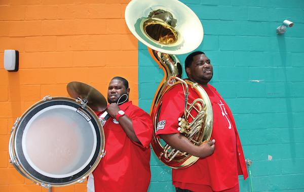 Harry Cook and Bennie Pete of the Hot 8 Brass Band. Photo by Elsa Hahne.