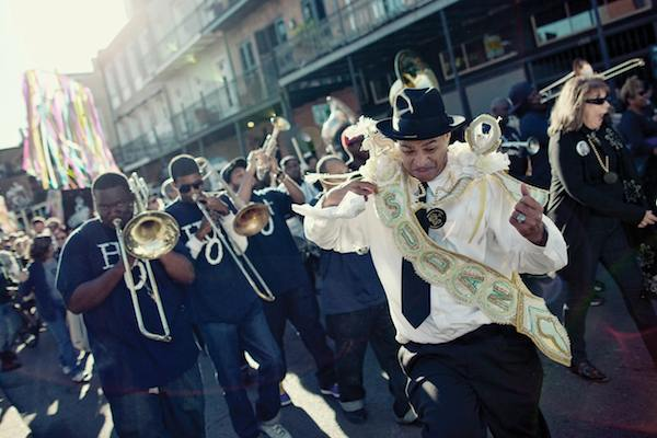 Hot 8 Brass Band leading a second line. Photo by Pompo Bresciani.