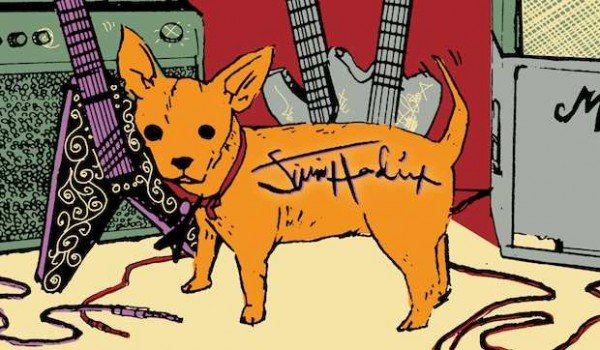 Jimi Hendrix signs dog in New Orleans. Illustration by Jon Sperry.