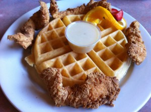 Chicken n Waffles from Russell's Marina Grill in New Orleans. Photo by Jenny Sklar.