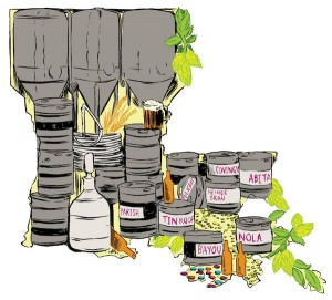 Louisiana craft breweries. Illustration by Jon Sperry.