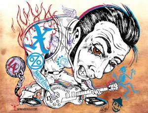 Voodoo Experience Highlight: Los Angeles Music, X, Snoop Dogg, Social Distortion, Ozomatli. Illustration by L. Steve Williams.