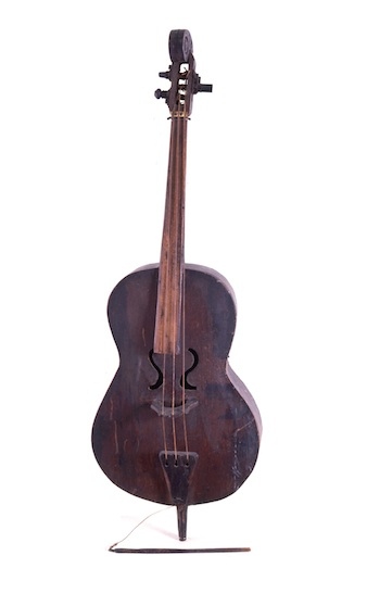 "Alcide ""Slow Drag"" Pavageau's three-string bass. Photo courtesy of the Louisiana State Museum."