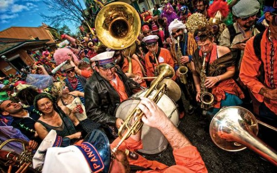 Panorama Brass Band parading during Mardi Gras. Photo by Marc Pagani.