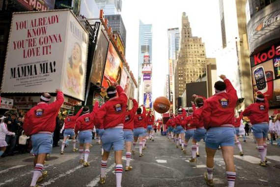 610 Stompers parade down Broadway in New York's Macy's Day Parade. Photo by Billy Welliver.