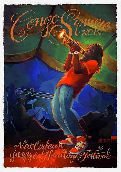 Jazz Fest Congo Square Poster 2012: The New Orleans Jazz & Heritage Festival Official Congo Square Poster by Carl Crawford featuring Shamarr Allen