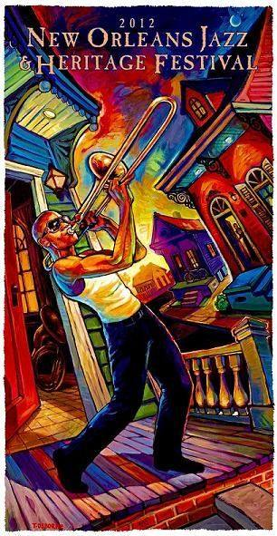 Jazz Fest Poster 2012: The New Orleans Jazz & Heritage Festival Official Poster by Terrance Osborne featuring Trombone Shorty