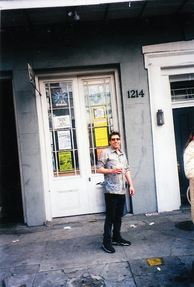 Michael Aaron in front of Rock 'n' Roll Collectibles on Decatur St.