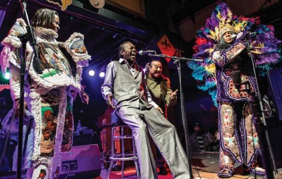 Bo Dollis, Jr. with his father Bo Dollis, Sr. and Monk Boudreaux on the right at the Tipitina's Wild Magnolias reunion show. Photo by Golden Richard III.