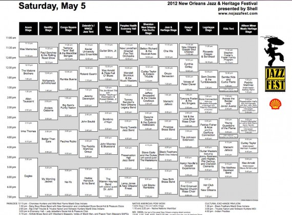 New Orleans Jazz Fest 2012 Full Cube Schedule: Saturday, May 5.
