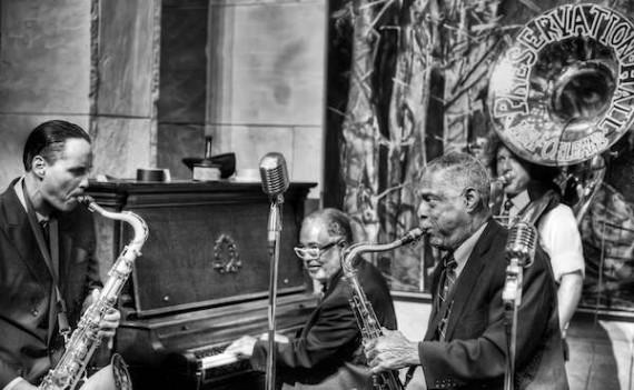 Preservation Hall Jazz Band. L-R: Clint Maedgen, Rickie Monie, Charlie Gabriel, Ben Jaffe. Photo by Golden Richard III.