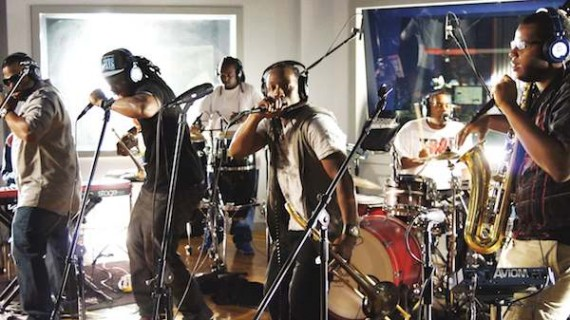 The Stooges Brass Band in Red Bull Studio. Photo by Rich Kim/Red Bull Content Pool.