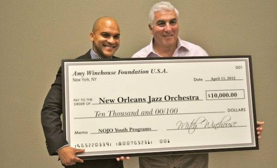 Irvin Mayfield and Mitch Winehouse. The Amy Winehouse Foundation presents a check to the New Orleans Jazz Orchestra. Photo by Aaron Lafont.