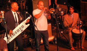 Irvin Mayfield with the Batiste Brothers Band at the New Orleans Musicians for Obama Fundraiser Concert. Photo by Jimmy Anselmo.