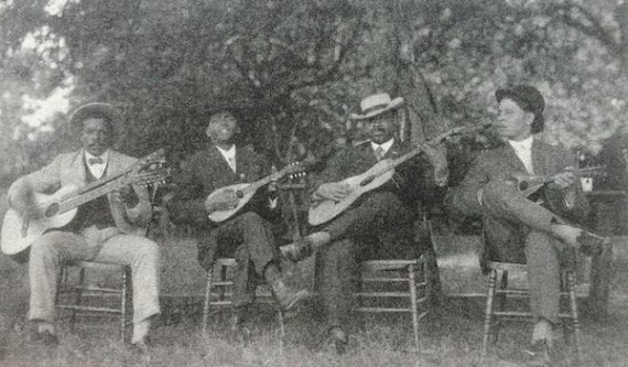 New Orleans String Band. From Left: Youman Jacob, Coochie Martin, Unidentified, Wendell McNeil. Photo from University of Connecticut.
