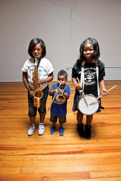 The kids of the Original Pinettes Brass Band. Photo by Elsa Hahne.