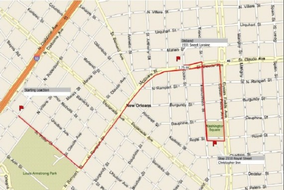 Uncle Lionel Batiste second line route for Friday, June 13, 2012 in New Orleans.