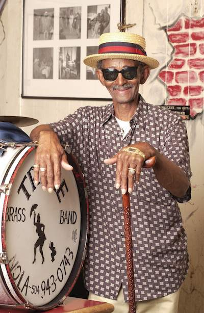 Uncle Lionel Batiste, Treme Brass Band drummer. Photo by Romney.