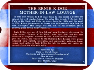 Ernie K-Doe's Mother-in-Law Lounge, plaque