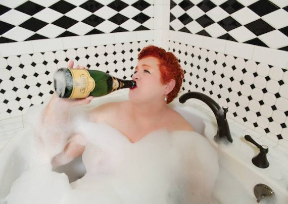 Jan Ramsey, champagne bath, Elsa Hahne photo