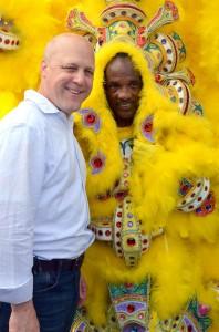 Mayor Mitch Landrieu with Mardi Gras Indian by Kim Welsh 2012
