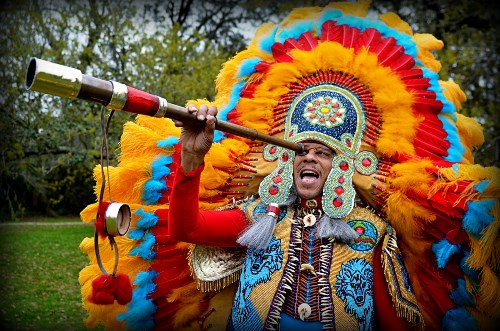 Spy Boy Dow, Mardi Gras Indians, Mohawk Hunters, photo, Kim Welsh