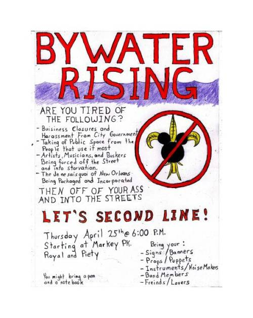 ByWater Rising Protest Second Line Poster April 25 2013