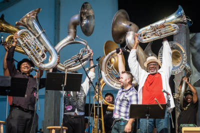 Taj Mahal and the Real Thing Tuba Band, Jazz Fest 2013, photo, Kate Gegenheimer
