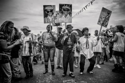 Uncle Lionel Batiste, Jazz Fest 2013, second line, photo, Skip Bolen