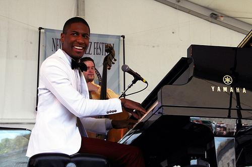 Jonathan Batiste, Newport Jazz Festival, photo, Ken Franckling