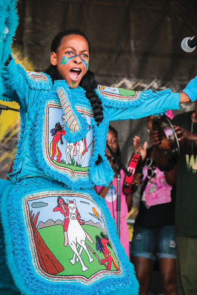 Mardi Gras Indian, Jazz Fest 2014, photo, Rebecca Ratliff, OffBeat Magazine, June 2014