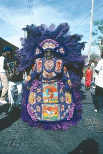 Mardi Gras Indian, Big Chief, Larry Bannock, photo, Jim Scheurich, OffBeat Magazine, June 2014
