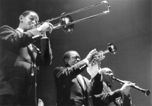 Trummy Young, Louis Armstrong, Edmond Hall, Joel Elkins, OffBeat Magazine, August 2014