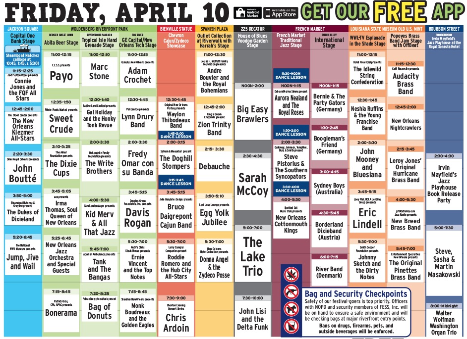 French Quarter Fest 2015 Daily Schedule for Friday, April 10