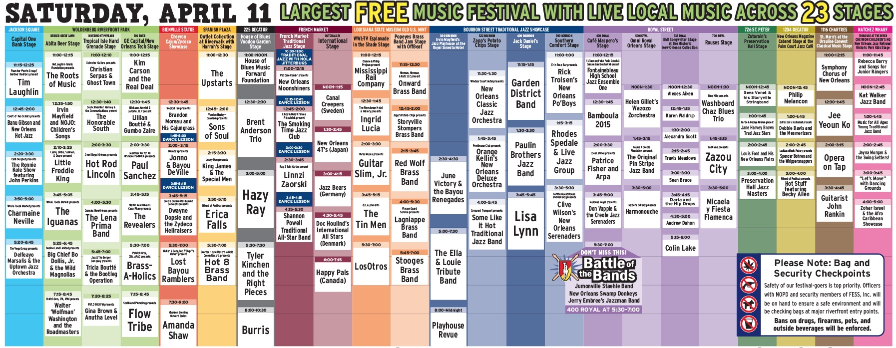 French Quarter Fest 2015 Daily Schedule for Saturday, April 11
