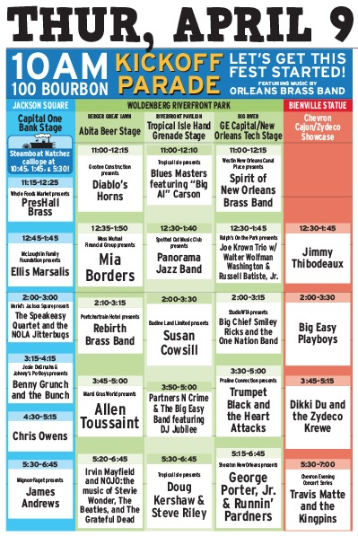 French Quarter Fest 2015 Daily Schedule for Thursday, April 9