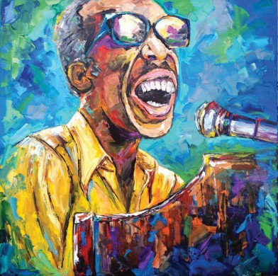 Becky Fos, Professor Longhair Painting, OffBeat Magazine, May 2015