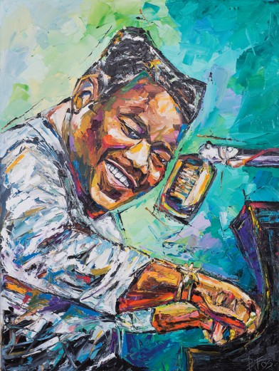 Fats Domino, Painting by Becky Fos, OffBeat Magazine, May 2015