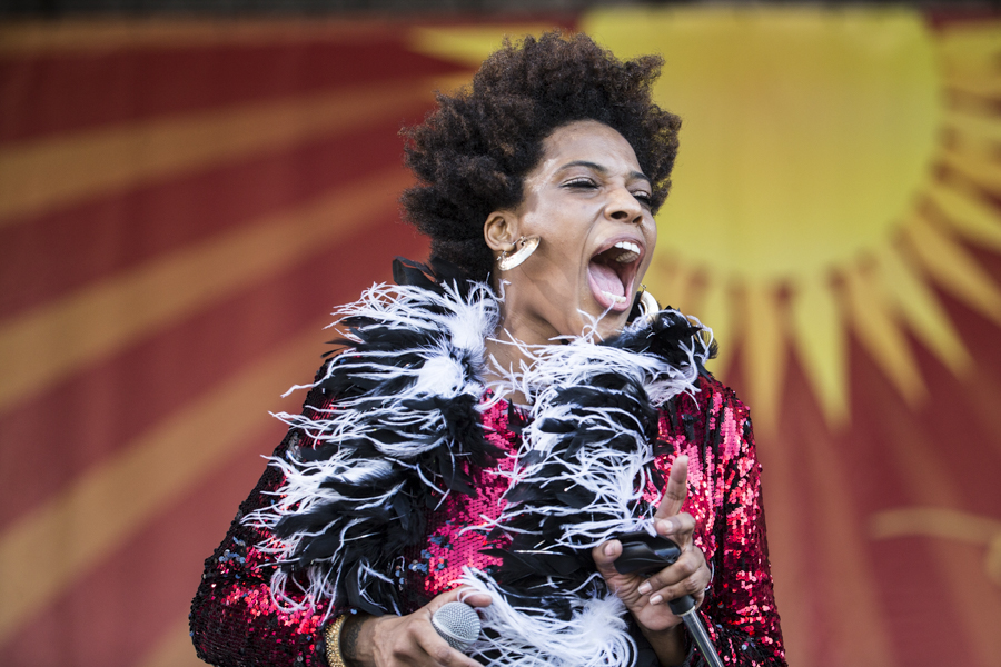 Galactic Featuring Macy Gray, Jazz Fest 2015, Photo by Willow Haley, OffBeat Magazine