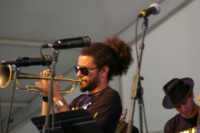 Ashlin Parker, Trumpet Mafia, Jazz Fest 2015, Photo by Stephen Maloney, OffBeat Magazine