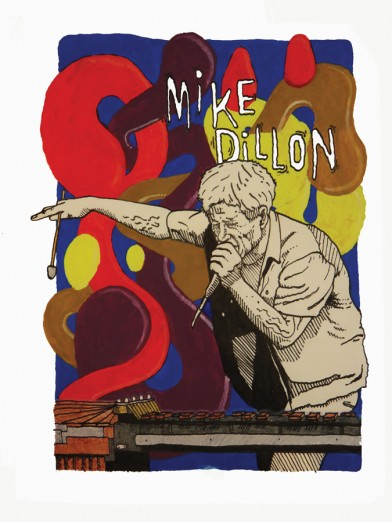 Mike Dillon, Illustration by Baptiste Michel, OffBeat Magazine, May 2015