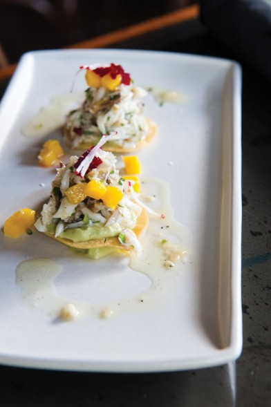 Crab tostada with beets, mango and avocado. Photo by Elsa Hahne